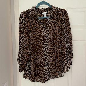 H&M size L leopard button blouse 3/4 sleeve EUC